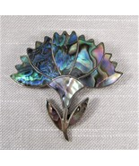 Vintage Sterling Silver 925 Abalone Flower Pendant/Brooch Taxco Mexico - $24.95