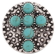 Silver Turquoise Cross 20mm Snap Charm Interchangeable For Ginger Snaps ... - $6.19