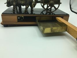 Vintage Wood Metal Wagon Wind Up Music Lullaby Jewelry Stash Box Western Decor image 5