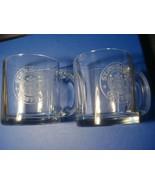 2 Starbucks Clear Glass Coffee Cup Mugs 12 oz Etched Siren Mermaid Logo ... - $23.76