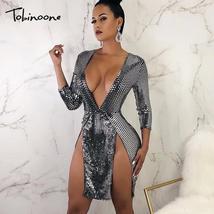 Tobinoone 2018 Bodycon Dress Women V Neck Sexy Dress Elegant Silver High Split M - $46.78