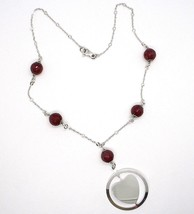 Necklace Silver 925, Carnelian Faceted, Heart Sloped Pendant image 2