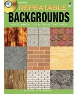 Repeatable Backgrounds: Wood, Brick, Tile and Stone Textures CD-ROM and Book (Do - $9.89
