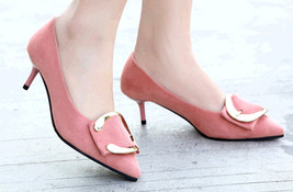 pp312 Elegant pointy pump w gold buckle, US Size 4-9.5 pink - $42.80