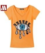 Ion short sleeve eyes embroidery sequins t shirt women cotton t shirts plus size white thumbtall