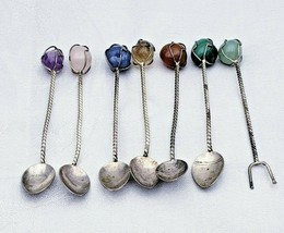 Set of 6 Vintage Sterling Spoons and 1 Cocktail Fork with Real Stones10226 - $49.00