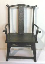 """Vintage Oriental Style  Iron Chair 10"""" Tall Black Hand Made Decorative - $54.40"""