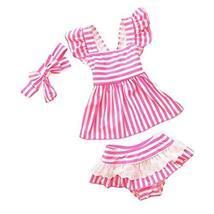 PANDA SUPERSTORE Swimwear Stripe Pattern Girls Two-Piece Swimsuit Headband, 18.5