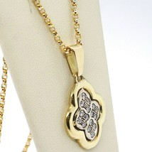 18K YELLOW & WHITE GOLD NECKLACE WITH DIAMONDS CROSS ROUNDED PENDANT image 2