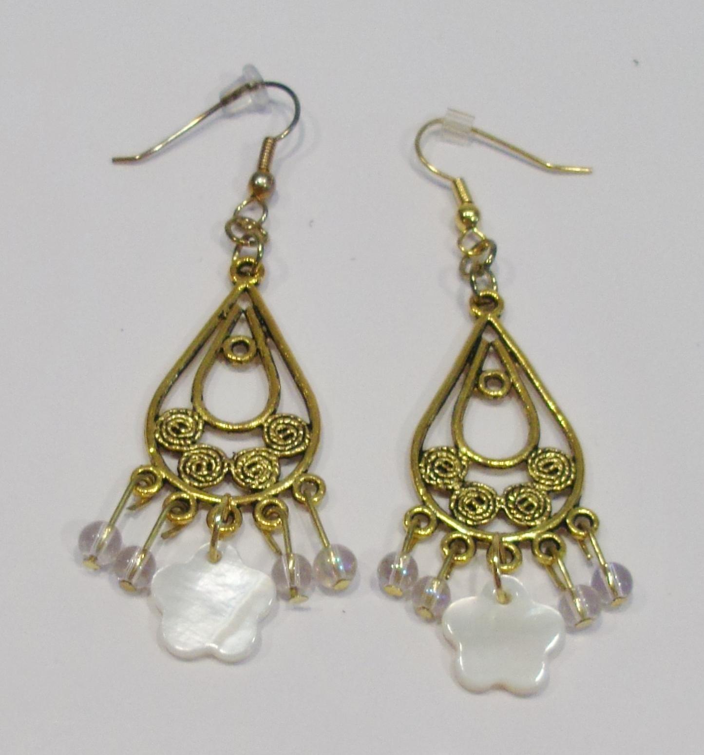 handmade mother of pearl flower filigree earrings