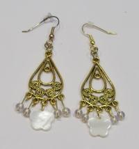 handmade mother of pearl flower filigree earrings - $10.00