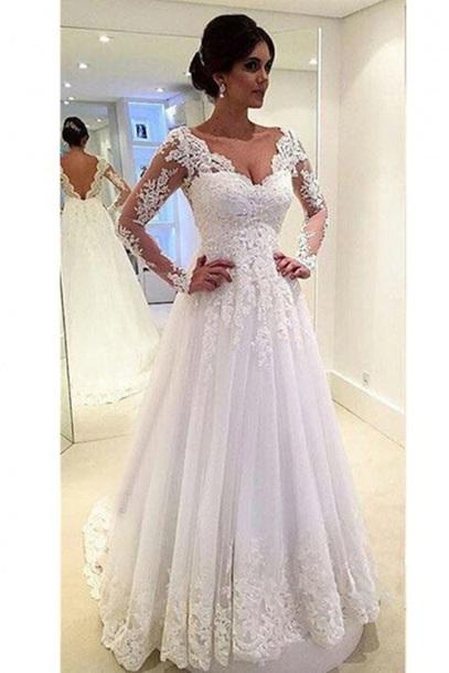 2018 lace applique wedding dresses long sleeve a-line prom dresses,HH035