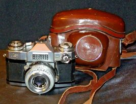 Zeiss Ikon Contaflex Super Camera with hard leather Case AA-192015 Vintage image 6