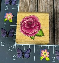 StampCraft Donna Dewberry Rose Rubber Stamp Flower Wood #K80 - $2.48
