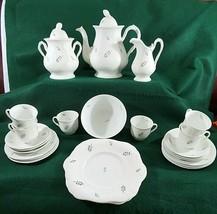 Antique 1840 Staffordshire Hard Paste Porcelain Sprig Tea Set 24 Pieces - $88.83