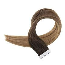 Easyouth 16inch Ombre Hair Extensions Tape in Real Hair Color 2 Darkest Brown Fa image 6