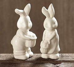 Easter Bunny Girl and Boy Cream Colored Salt and Pepper Shakers - $11.98