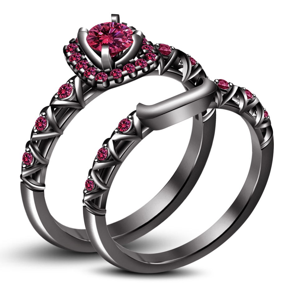 Black Gold Plated 925 Silver Round Cut Pink Sapphire Bridal Ring Set Free Shipp