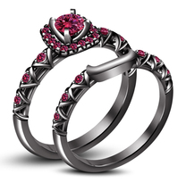 Black Gold Plated 925 Silver Round Cut Pink Sapphire Bridal Ring Set Free Shipp - $85.74