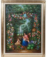 Hand-Painted Oil Painting on Canvas Framed in Gold Leaf Wood. - $448.89