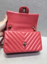 AUTH NEW Chanel RARE PINK CHEVRON Quilted LAMBSKIN Large Mini 20CM Flap Bag SHW image 8