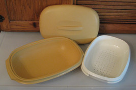Tupperware Microwave Steamer Harvest Gold w Insert - $6.92