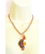 glass seahorse necklace sea horse necklace orange glass seahorse pendant... - $8.99