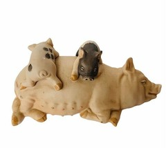 Pig Figurine vtg collectible sculpture gift decor 1987 Enesco porcelain ... - $29.65