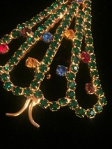 Vintage 60s Gold Plate and Rhinestone Christmas Tree Brooch image 4