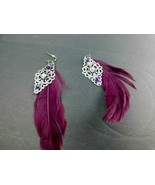 Vintage Feather Filigree Rhinestone Dangle Earrings Purple Pierced - $11.75