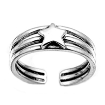 Three Row Star Design Women's Adjustable Toe Ring 14k White Gold Over 92... - $9.99
