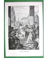 GREEK GIRLS Games & Sports - 1882 Antique Print - $8.77