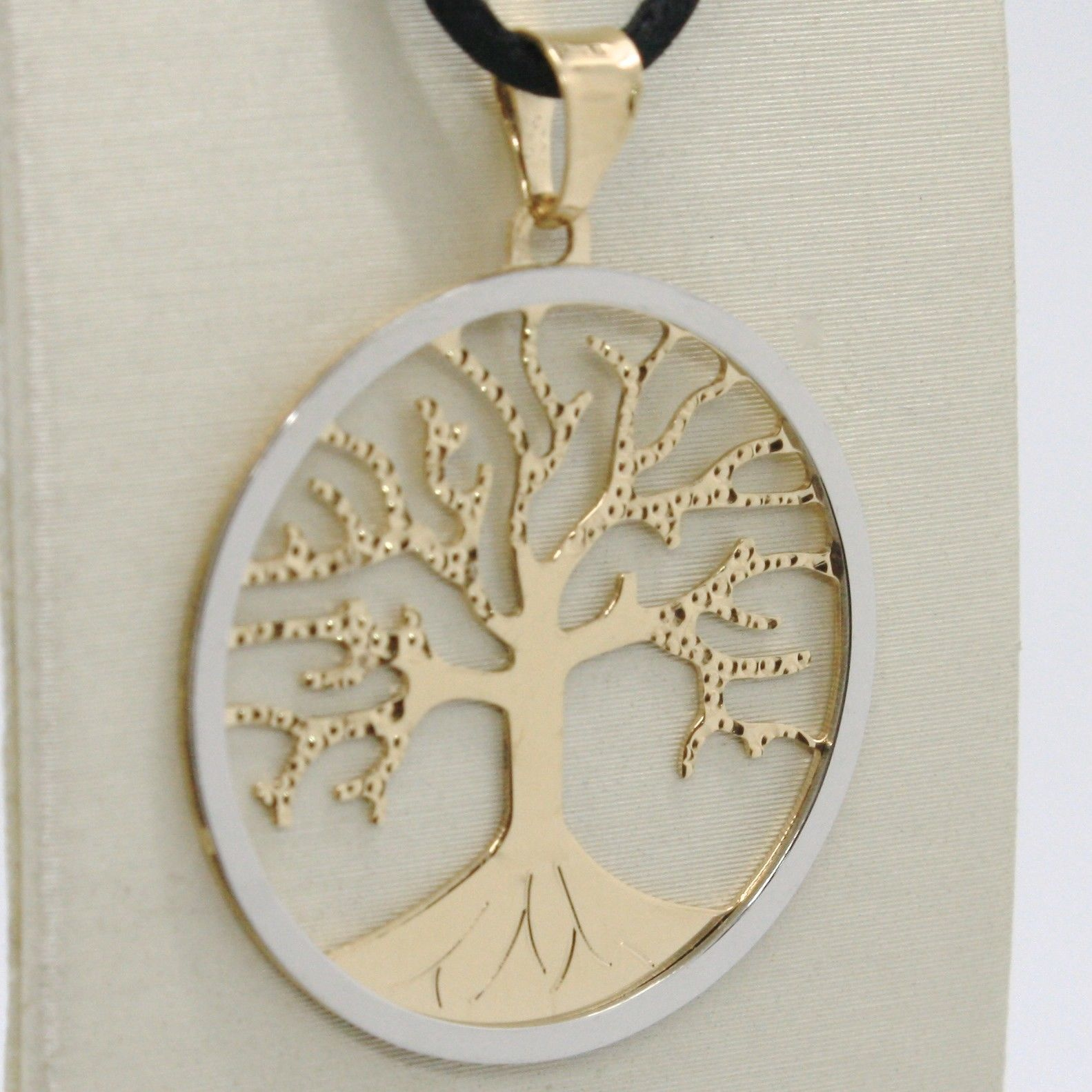 18K YELLOW WHITE GOLD TREE OF LIFE PENDANT CHARM MEDAL 1.2 INCHES MADE IN ITALY