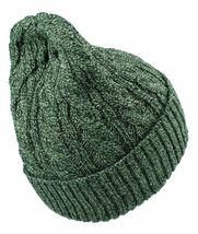 Dope Couture Yellow/Green Black Cable Knit Cuff Fold Beanie Winter Hat NWT image 3