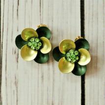 vintage rhinestone green flower clip earrings mid century midcentury gol... - $9.89