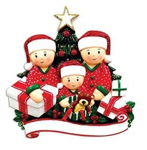 Personalized Christmas Tree Ornaments Family of 4 Holiday Gift Ornament - $16.73