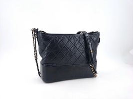 AUTHENTIC CHANEL Black Quilted Calfskin Medium Gabrielle Hobo Bag RECEIPT  image 2