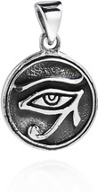 Circle Eye Of Horus Egyptian Symbol .925 Sterling Silver Pendant - $63.85