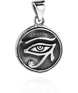 Circle Eye Of Horus Egyptian Symbol .925 Sterling Silver Pendant - $63.85
