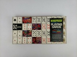 Vtg Kling Windproof Magnetic Playing Cards COMPLETE 2 Decks and Board FR... - $50.50
