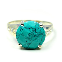 Real Round Turquoise Ring Free Shipping Silver Handmade US 4,5,6,7,8,9,1... - $23.96