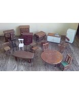 "Doll House Furniture.  18 Wooden Pieces.  5 are Marked ""Price Products.""  - $38.00"