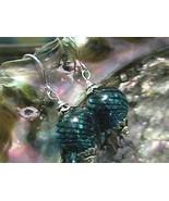 Sterling Silver Hand Blown Blue Swirl Glass Beaded Earrings (1) Pair 925 SS - $13.51