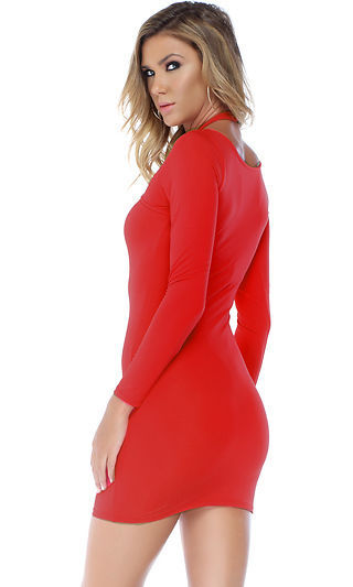 Forplay Chic Criss Cross Long Sleeve Mini Dress ~ Black, Red or White