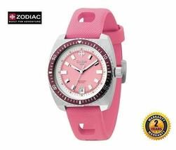 ZODIAC ZO2245 Women Round Steel DIVER SWISS MADE Watch Pink Silicone Pin... - $391.42