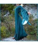 Medieval Wide Long Sleeved Floor Length Blue Linen Gothic Chemise Underg... - $78.95