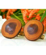 Vintage Mens Cufflinks Wood Wooden Round Rustic Handmade Natural - $9.95