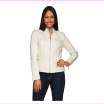G.I.L.I. Zip Front Leather Jacket with Seaming Detail, Chalk, Size 2, MSRP $303 - $122.10