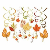 Fall Foliage Leaves 30 Pc Swirl Hanging Decorations Mega Value Pack - $17.81