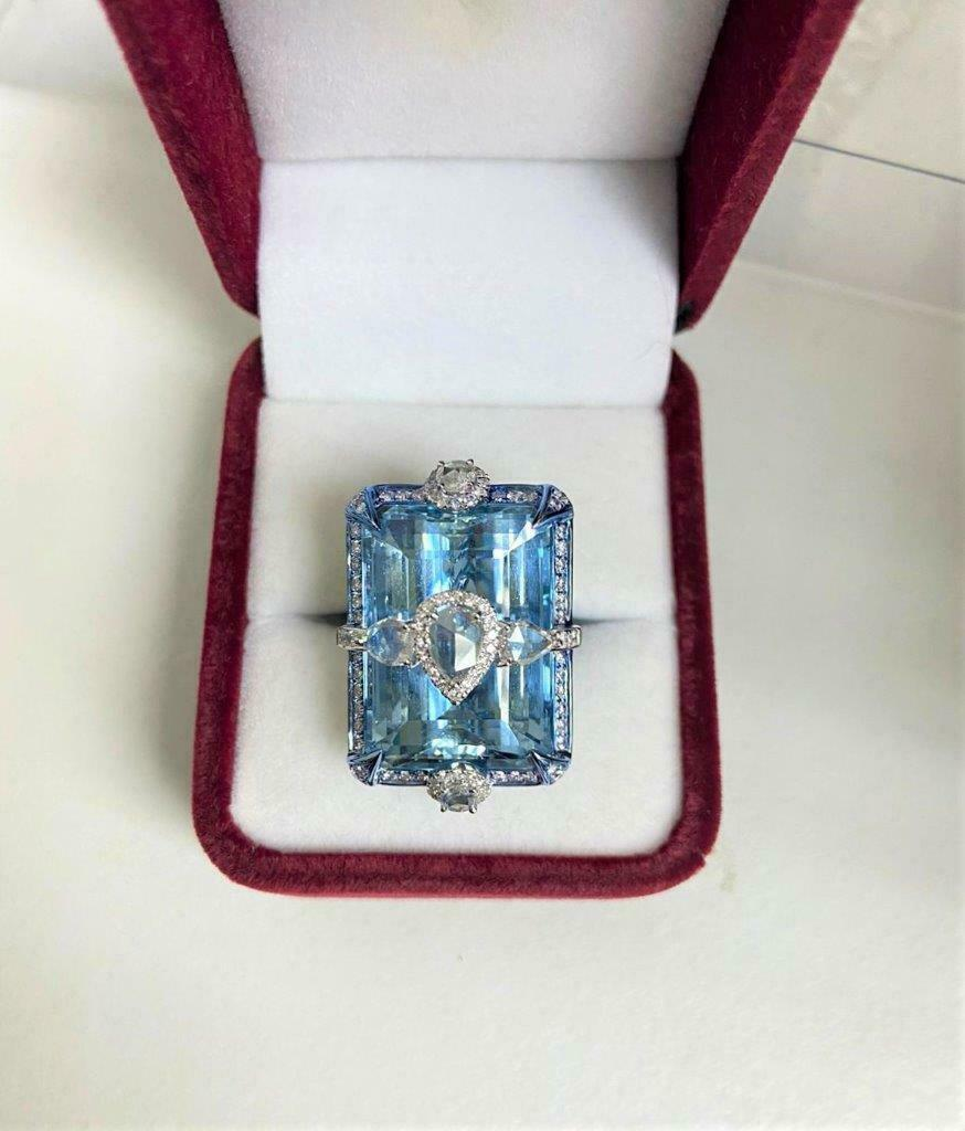 Primary image for LIQUIDATON!! $43500 RARE 18KT 42CT RARE LRG GORGEOUS AQUAMARINE DIAMOND EARRINGS
